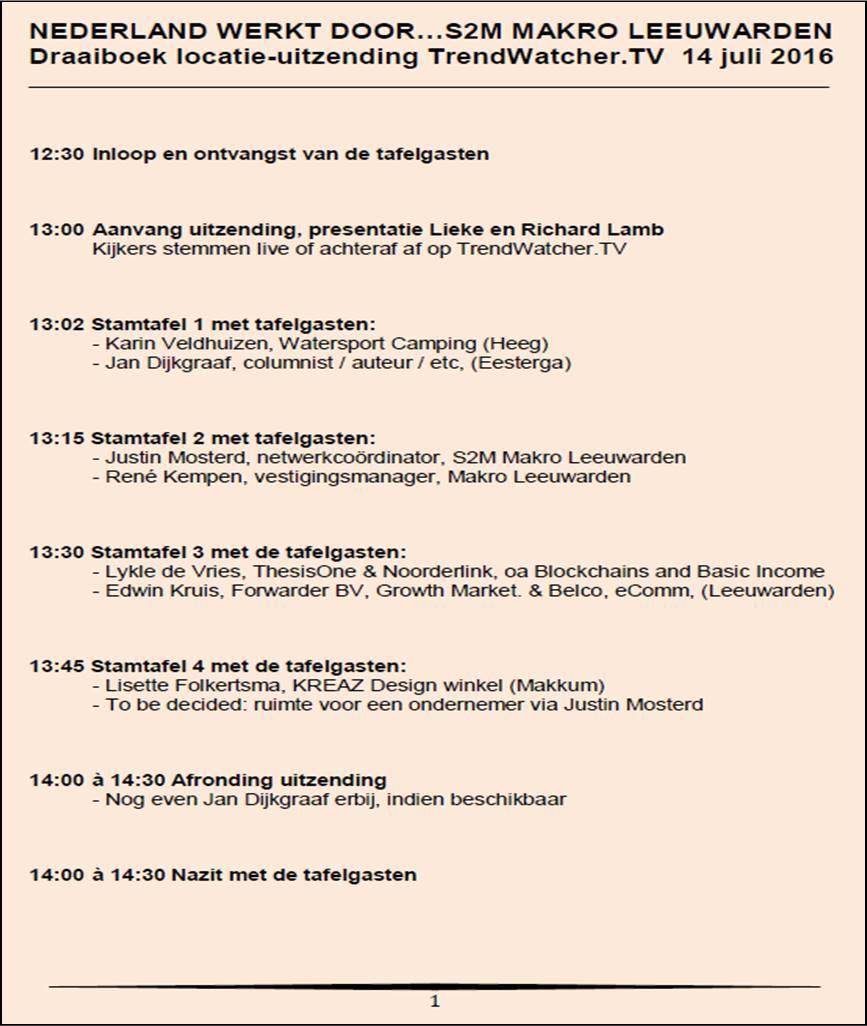 Draaiboek 14 juli Leeuwarden